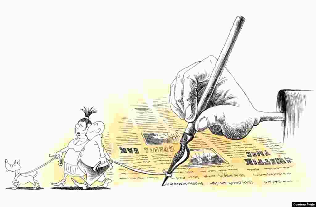 Атауы белгісіз карикатура. Авторы: Ғалым Смағұлұлы (Алматы).