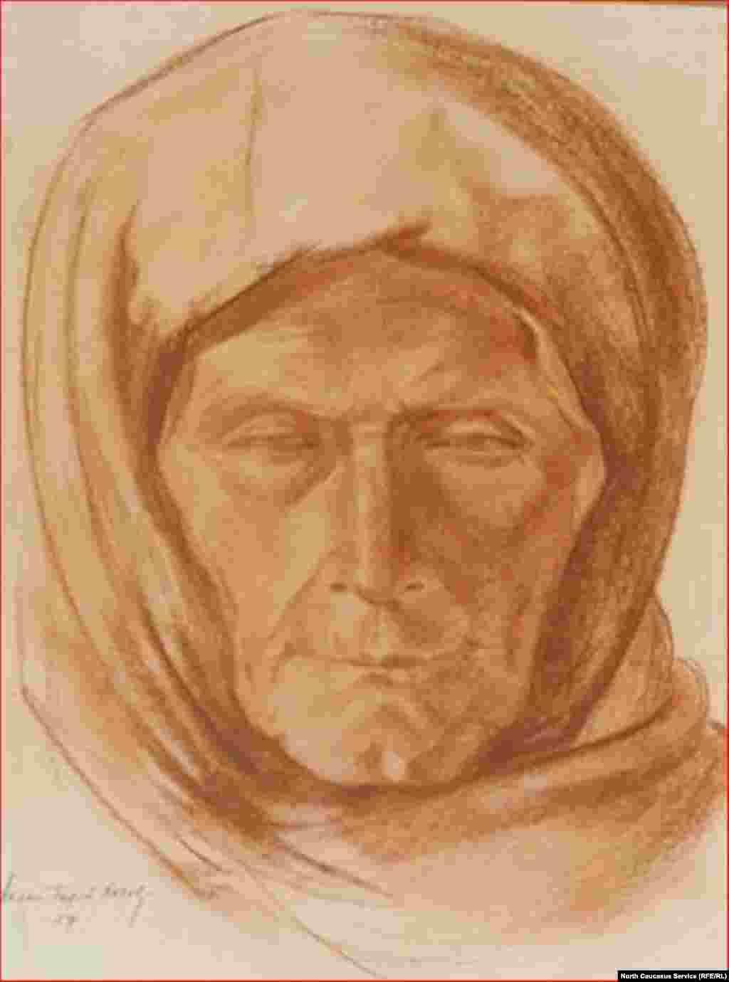 Аслан-Гирей Хохов. Старуха-осетинка. Осетия. 1927 г.