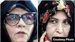 Mir Hossein Musewiniň aýaly Zahra Rahnaward (sagda) we Mehdi Karrubiniň aýaly Fatemeh Karrubi