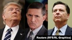 Președintele Donald Trump, fostul consilier pe probleme de securitate națională al Casei Albe, Michael Flynn și fostul director FBI, James Comey