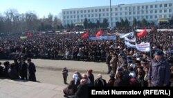 Ошта оппозиция өткізген митингі. Қырғызстан, Ош, 1 наурыз 2012 жыл.