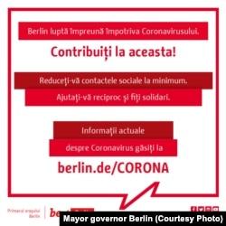 Informații despre coronavirus; sursa: Primarul guvernator al Berlinului