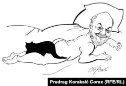 Карикатура на Душана Макавеева (художник: Предраг Кораксич)