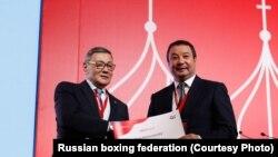 Гафур Рахимов и Серик Конакбаев на конгрессе AIBA. Москва, 2 ноября 2018 года. (Фото пресс-службы Федерации бокса России.)