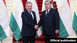 Эмомали Рахмон и Сергей Шойгу, Душанбе, 28 мая 2019 года. Фото пресс-службы президента Таджикистана