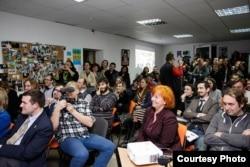 Зала Будинку вільних людей, де проходила презентація музею. Фото Олександра Волчанського