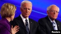 Դեմոկրատական կուսակցությունից ԱՄՆ նախագահի թեկնածու առաջադրվելու համար պայքարող Էլիզաբեթ Ուորենը, Ջո Բայդենը և Բերնի Սանդերսը Այովա նահանգում, 14-ը հունվարի, 2020թ.