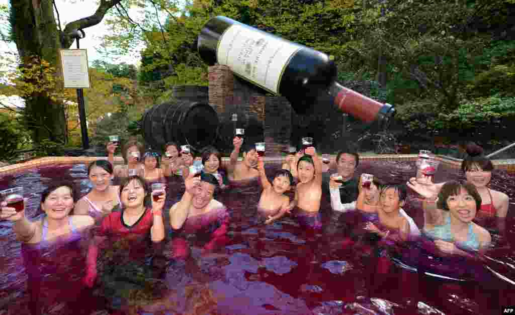 Visitors toast the 2012 Beaujolais Nouveau wine while enjoying the wine spa at the Hakone Yunessun spa resort facilities, some 100 kilometers west of Tokyo. As the new vintage of Beaujolais Nouveau is officially uncorked, Hakone Yunessun started its annual 16-day Beaujolais Nouveau spa to attract visitors. (AFP/Toshifumi Kitamura)