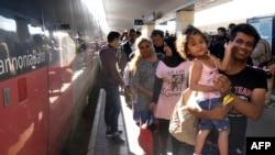 Мігранты на вакзале ў Вене 6 верасьня 2015 году