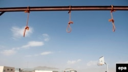 FILE: Nooses hang at the site of execution in Pul-e Charkhi prison, on the outskirts of Kabul in 2014