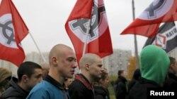 Шествие националистов в Москве.