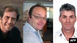 Слева направо: сотрудники France Presse Роберто Шмидт, Дэйв Кларк и фотограф Getty Джо Рэйдл