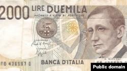 Банкнота номіналом у 2000 лір із зображенням видатного італійського радіоінженера Ґульєльмо Марконі. Це ледь більше від нинішнього 1 євро