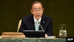 """UN Secretary-General Ban Ki-moon called for international assistance to solve the world's crises, saying that leadership is about """"finding the seeds of hope and nurturing them into something bigger."""""""