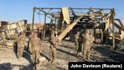 Амэрыканская база Эйн аль-Асад у Іраку пасьля іранскага ракетнага ўдару