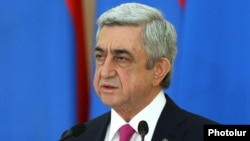 Armenia - President Serzh Sarkisian speaks at a ceremony in the presidential palace in Yerevan, 28Jan2017.