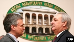 Abkhaz leader Sergei Bagapsh (right) talks with the EU's South Caucasus envoy, Peter Semneby, in Sukhumi, where Semneby has been a frequent visitor.