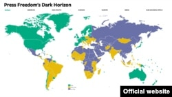 ایران در این نقشه با رنگ بنفش و به عنوان کشوری غیر آزاد معرفی شده است.