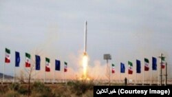 A photo published in Iranian Media shows the launch of Qased missile which according to IRGC's claim carried on Iran's first Military satellite, Nour. April 22, 2020