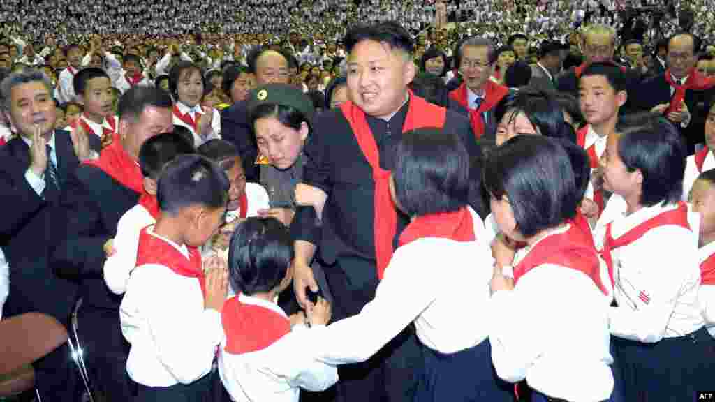 North Korean leader Kim Jong Un at a concert to celebrate the 66th anniversary of the Korean Children's Union in Pyongyang. (AFP PHOTO/KCNA via KNS)