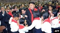 North Korea -- Leader Kim Jong-Un (C) at a concert to celebrate the 66th anniversary of the Korean Children's Union (KCU) organizations in Pyongyang, 06Jun2012