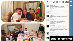 Depardieu at dinner with Kadyrov's family.