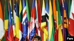 محمود احمدی نژاد، رییس جمهوری اسلامی ایران در نشست وزیران امور خارجه غیر متعهدها در تهران.(عکس: فارس)