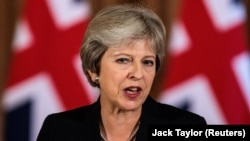 U.K. Prime Minister Theresa May makes a statement on Brexit negotiations with the European Union in London on September 21.