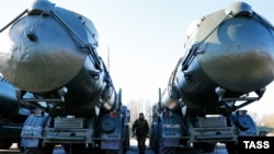 Redut missiles are seen ahead of a Victory Day parade in Kaliningrad on April 8.