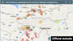 Карта возможного применения пыток и жестокого обращения в Таджикистане.