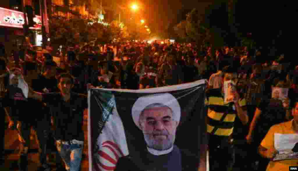 Rohani supporters took to the streets to express hope for the change that the cleric and former military commander advocated during the campaign.