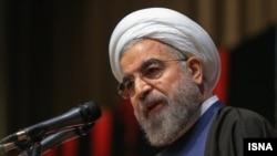 حسن روحانی، رئیس جمهوری ایران در دانشگاه علوم پزشکی ایران. ۱۶ آذر ۹۳