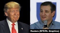 Tehasly senator Ted Kruz (s) we milliarder Donald Trump (ç)