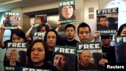"""Активисты """"Гринпис"""" в Гонконге выступают в поддержку арестованной команды """"Арктик Санрайз"""""""
