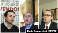 Tre kandidatët për kryeministër Albin Kurti (majtas), Ramush Haradinaj (mes) dhe Avdullah Hoti (djathtas).