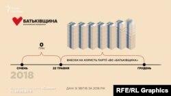 «Батьківщина» за 8 місяців зібрала з українських громадян майже 160 мільйонів гривень