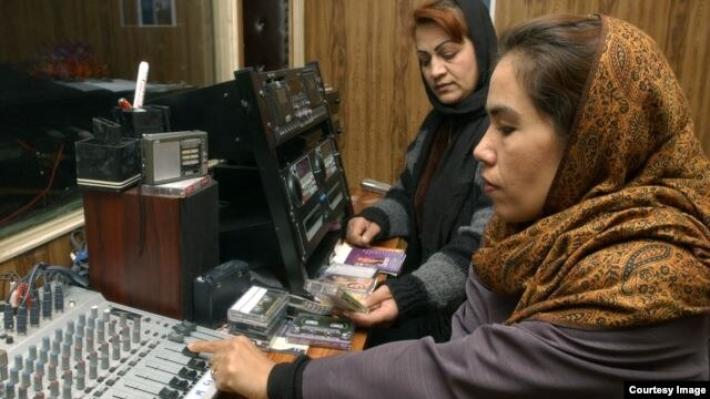 In the studio at Voice of Women, the first radio station in Afghanistan to be dedicated to the interests of women.