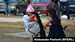 Izbeglice u jednom od beogradskih parkova