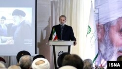 Iranian Parliament speaker Ali Larijani during a visit to Bojnourd in northern Khorasan Province on Wednesday June 12