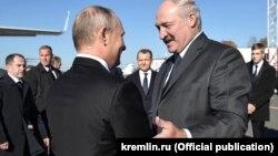Уладзімір Пуцін і Аляксандар Лукашэнка ў Магілёве, 12 кастрычніка 2018 году