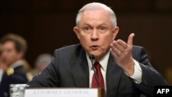 U.S. Attorney General Jeff Sessions testifies a Senate hearing in Washington on June 13.