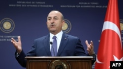 Turkey -- Turkish Foreign Minister Mevlut Cavusoglu gives a press conference with his German counterpart in Ankara, June 5, 2017
