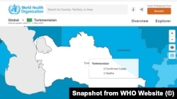 Картата на СЗО показва, че в Туркменистан заразени и починали от COVID-19 няма