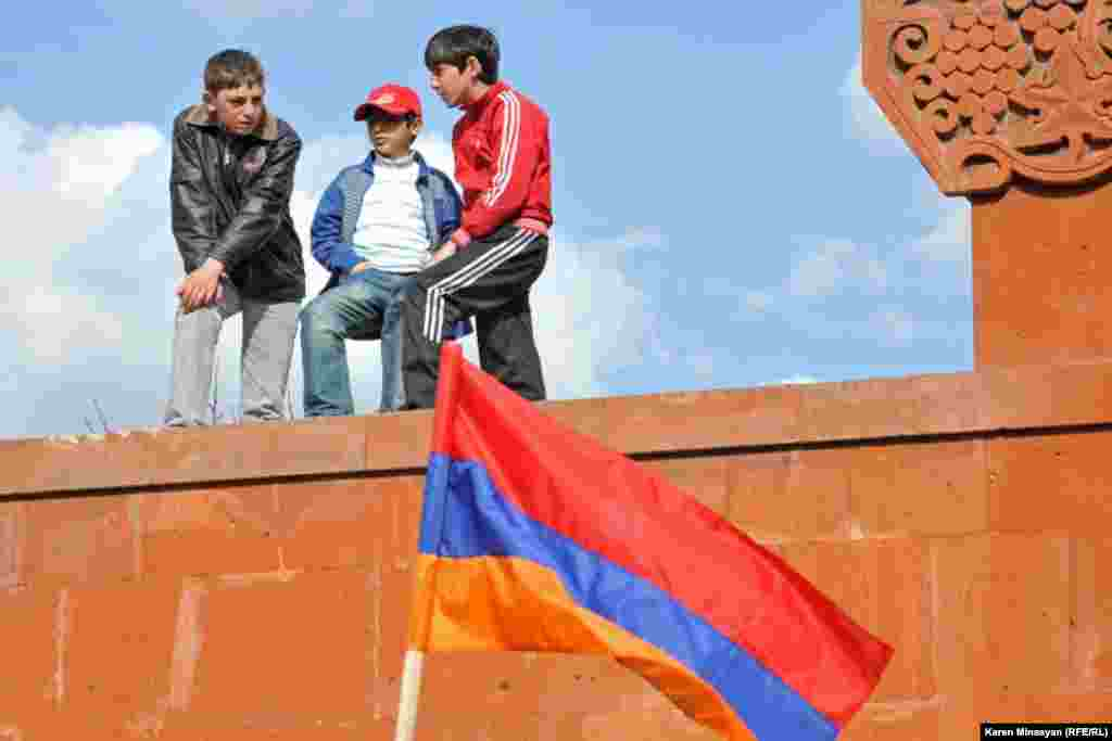 Armenian children attend a rally with various party leaders ahead of parliamentary elections scheduled for May 6.