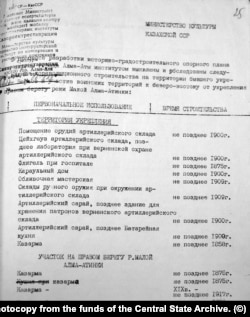 Из этого документа (ЦГА Алматы, фонд 116, опись 2, дело 112) можно узнать датировки сохранившихся и не сохранившихся зданий на территории бывшей крепости. Фотокопия из фондов Центрального госархива.