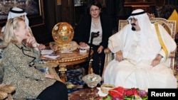 Saudi King Abdullah meets with U.S. Secretary of State Hillary Clinton in Riyadh on March 30.