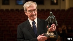 Stanislav Petrov receives the Dresden Prize at the Semper Opera in Dresden, Germany, in February 2013.