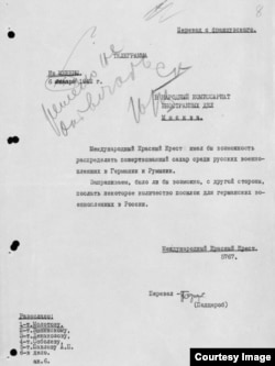 "A request from the Red Cross to help Soviet prisoners, with the notation ""Do Not Respond"" in Molotov's hand."