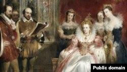 """Фрагмент репродукции картины Джона Джеймса Шалона """"Чтения Шекспира королеве Елизавете I"""""""