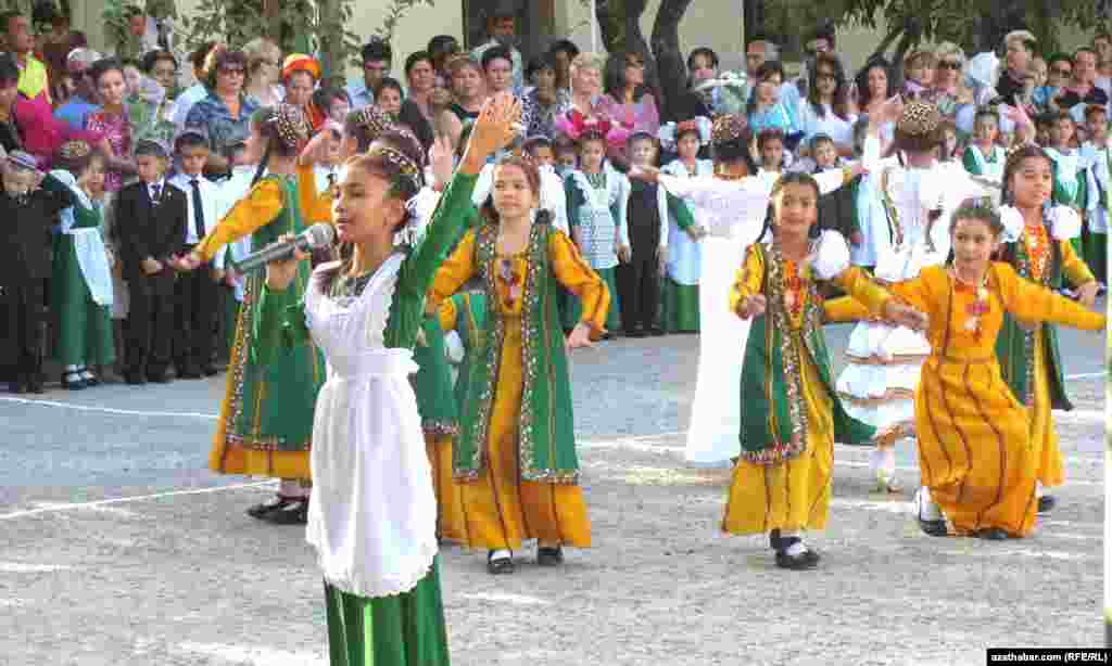 A ceremony marking the first day of school at School No. 11 in Turkmenabat, Turkmenistan, on September 1, which is also celebrated as Education Day.